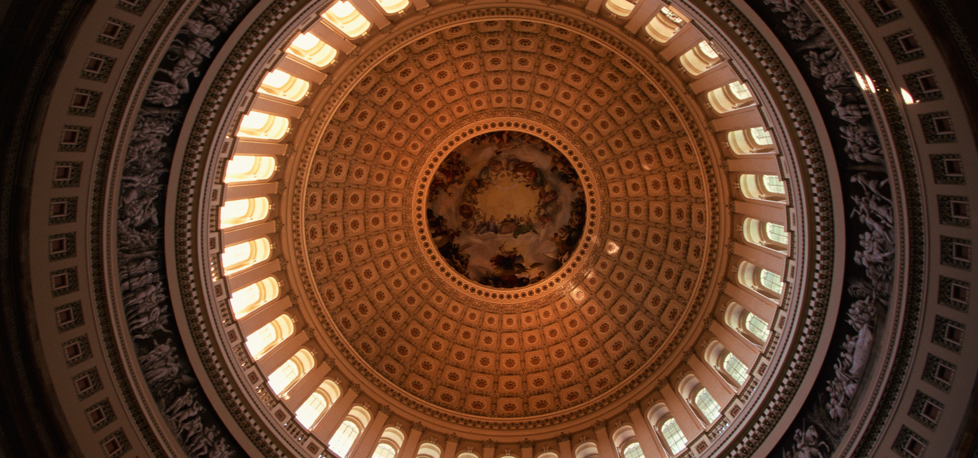 Looking up at the inside of the Capitol Dome.