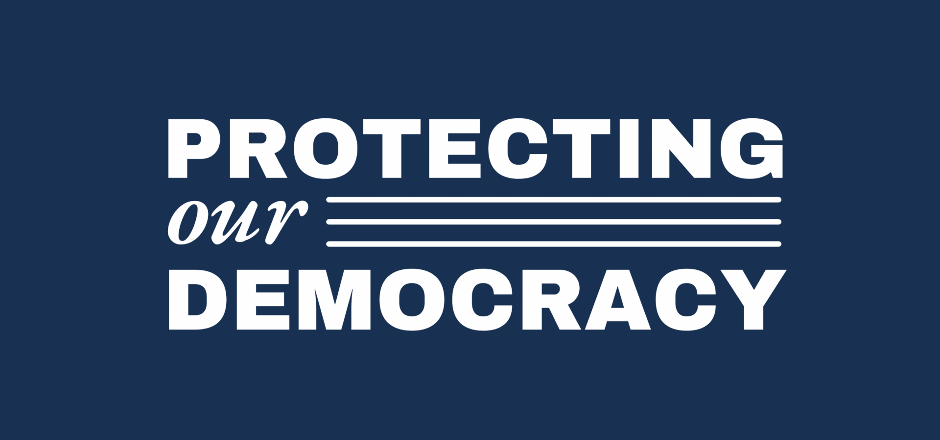 A website banner with a navy blue background and white text that says Protecting Our Democracy.